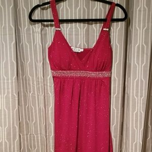 Sparkly, shimmery, red cocktail dress